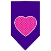 Mirage Pet Products Pink Swiss Dot Heart Screen Print Bandana Purple Large
