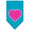 Mirage Pet Products Pink Swiss Dot Heart Screen Print Bandana Turquoise Large