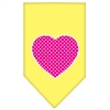 Mirage Pet Products Pink Swiss Dot Heart Screen Print Bandana Yellow Large