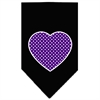Mirage Pet Products Purple Swiss Dot Heart Screen Print Bandana Black Small