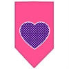 Mirage Pet Products Purple Swiss Dot Heart Screen Print Bandana Bright Pink Large