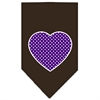 Mirage Pet Products Purple Swiss Dot Heart Screen Print Bandana Cocoa Small