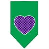 Mirage Pet Products Purple Swiss Dot Heart Screen Print Bandana Emerald Green Small