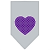 Mirage Pet Products Purple Swiss Dot Heart Screen Print Bandana Grey Large
