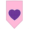 Mirage Pet Products Purple Swiss Dot Heart Screen Print Bandana Light Pink Large