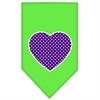 Mirage Pet Products Purple Swiss Dot Heart Screen Print Bandana Lime Green Large