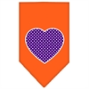 Mirage Pet Products Purple Swiss Dot Heart Screen Print Bandana Orange Small