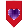Mirage Pet Products Purple Swiss Dot Heart Screen Print Bandana Red Large