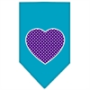 Mirage Pet Products Purple Swiss Dot Heart Screen Print Bandana Turquoise Small