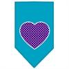 Mirage Pet Products Purple Swiss Dot Heart Screen Print Bandana Turquoise Large