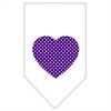 Mirage Pet Products Purple Swiss Dot Heart Screen Print Bandana White Large