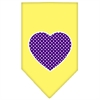 Mirage Pet Products Purple Swiss Dot Heart Screen Print Bandana Yellow Large