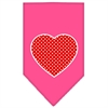 Mirage Pet Products Red Swiss Dot Heart Screen Print Bandana Bright Pink Large