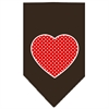 Mirage Pet Products Red Swiss Dot Heart Screen Print Bandana Cocoa Large