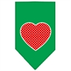 Mirage Pet Products Red Swiss Dot Heart Screen Print Bandana Emerald Green Large