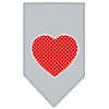 Mirage Pet Products Red Swiss Dot Heart Screen Print Bandana Grey Small