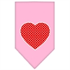 Mirage Pet Products Red Swiss Dot Heart Screen Print Bandana Light Pink Small