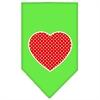 Mirage Pet Products Red Swiss Dot Heart Screen Print Bandana Lime Green Small