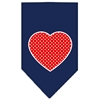 Mirage Pet Products Red Swiss Dot Heart Screen Print Bandana Navy Blue Small