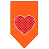 Mirage Pet Products Red Swiss Dot Heart Screen Print Bandana Orange Small