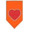 Mirage Pet Products Red Swiss Dot Heart Screen Print Bandana Orange Small