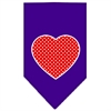 Mirage Pet Products Red Swiss Dot Heart Screen Print Bandana Purple Small