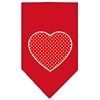 Mirage Pet Products Red Swiss Dot Heart Screen Print Bandana Red Large
