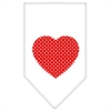 Mirage Pet Products Red Swiss Dot Heart Screen Print Bandana White Small