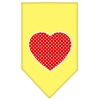 Mirage Pet Products Red Swiss Dot Heart Screen Print Bandana Yellow Large