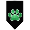 Mirage Pet Products Green Swiss Dot Paw Screen Print Bandana Black Large
