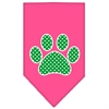 Mirage Pet Products Green Swiss Dot Paw Screen Print Bandana Bright Pink Large