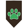 Mirage Pet Products Green Swiss Dot Paw Screen Print Bandana Cocoa Small