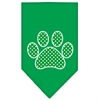 Mirage Pet Products Green Swiss Dot Paw Screen Print Bandana Emerald Green Large