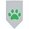 Mirage Pet Products Green Swiss Dot Paw Screen Print Bandana Grey Small