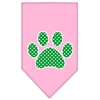 Mirage Pet Products Green Swiss Dot Paw Screen Print Bandana Light Pink Large