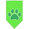 Mirage Pet Products Green Swiss Dot Paw Screen Print Bandana Lime Green Small