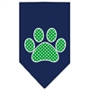 Mirage Pet Products Green Swiss Dot Paw Screen Print Bandana Navy Blue Small