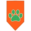 Mirage Pet Products Green Swiss Dot Paw Screen Print Bandana Orange Small