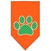 Mirage Pet Products Green Swiss Dot Paw Screen Print Bandana Orange Large