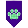Mirage Pet Products Green Swiss Dot Paw Screen Print Bandana Purple Large