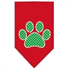 Mirage Pet Products Green Swiss Dot Paw Screen Print Bandana Red Small