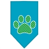 Mirage Pet Products Green Swiss Dot Paw Screen Print Bandana Turquoise Small