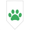 Mirage Pet Products Green Swiss Dot Paw Screen Print Bandana White Large