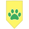 Mirage Pet Products Green Swiss Dot Paw Screen Print Bandana Yellow Small