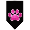 Mirage Pet Products Pink Swiss Dot Paw Screen Print Bandana Black Small