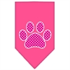 Mirage Pet Products Pink Swiss Dot Paw Screen Print Bandana Bright Pink Small
