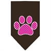 Mirage Pet Products Pink Swiss Dot Paw Screen Print Bandana Cocoa Large