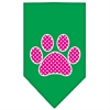 Mirage Pet Products Pink Swiss Dot Paw Screen Print Bandana Emerald Green Large