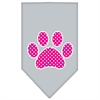 Mirage Pet Products Pink Swiss Dot Paw Screen Print Bandana Grey Large