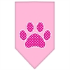 Mirage Pet Products Pink Swiss Dot Paw Screen Print Bandana Light Pink Large
